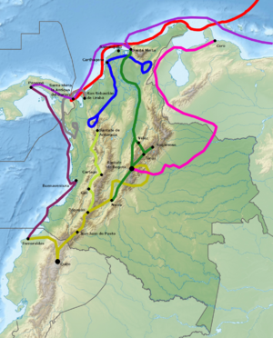 Nikolaus Federmann - Explored route of Federmann in South America indicated in pink