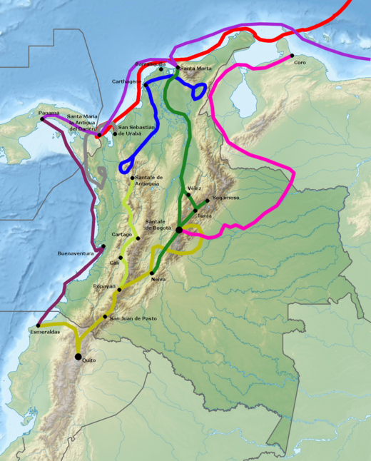 Routes of Spanish conquest Green is De Quesada's approximate trajectory Note: route around the Sierra Nevada de Santa Marta incorrectly drawn Conquest of Colombia.png