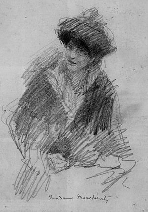 John Butler Yeats - Portrait of Countess Constance Markievicz, an Irish politician, revolutionary nationalist and suffragette; pencil drawing
