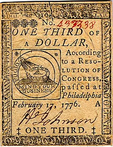 Continental Currency one-third dollar banknote obverse (February 17, 1776).jpg