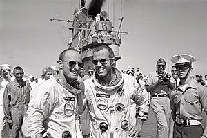 Gordon Cooper - Pete Conrad and Gordon Cooper on deck of recovery carrier USS ''Lake Champlain'' after Gemini 5 mission