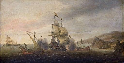 Cornelis Bol - Zeegevecht tussen Hollandse oorlogsschepen en Spaanse galeien