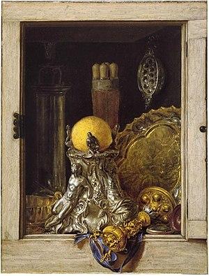 Pronkstilleven - Image: Cornelis Norbertus Gijsbrechts Silverware in an Open Cabinet
