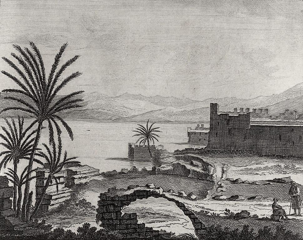 Cornelis de Bruyn. Viste nella Tibériade (174). Voyage au Levant. 1714