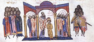 Constantine Doukas (usurper) - The coronation of the young Constantine VII. Miniature from the Madrid Skylitzes chronicle