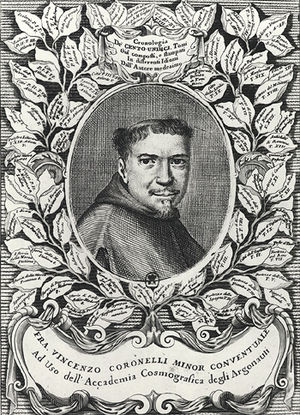 Vincenzo Coronelli - Vincenzo Coronelli, from the frontispiece of the folio edition of Atlante Veneto