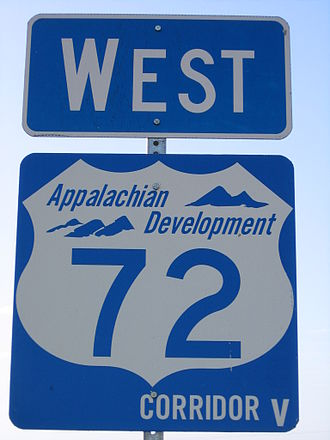 Appalachian Development Highway System - Sign for Corridor V and US 72 in Alabama