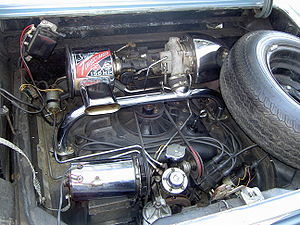 Turbocharged petrol engines - The Chevrolet Corvair's turbocharged engine. The turbo, located at top right, feeds pressurized air into the engine through the chrome T-pipe spanning the engine.