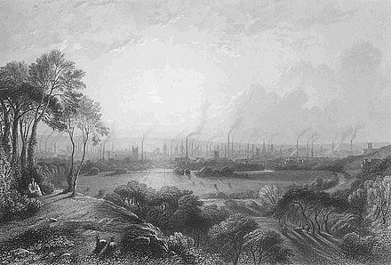 "Manchester, England (""Cottonopolis""), pictured in 1840, showing the mass of factory chimneys Cottonopolis1.jpg"