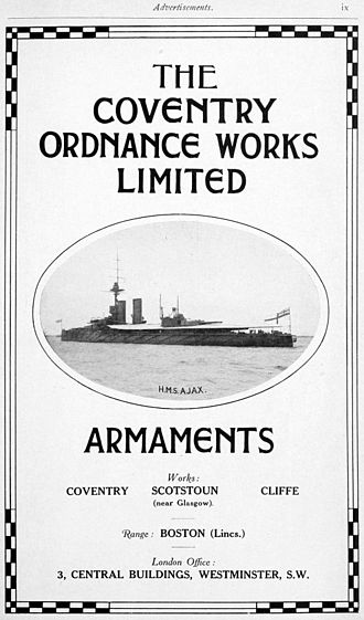 Coventry Ordnance Works - Advertisement Brassey's Naval Annual 1915