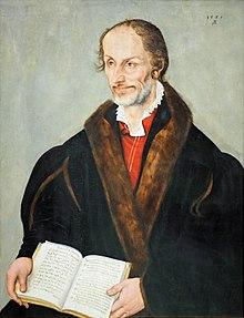 Philipp Melanchthon im hohen Alter, Gemälde von Lucas Cranach d.J. von 1559 (Städelsches Kunstinstitut) (Quelle: Wikimedia)