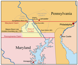 The Maryland-Pennsylvania boundary dispute: The conflict occurred in the Conejohela Valley with the northern apex just north of the mid-river Coejohela Flats islands, south of Wrightsville, Pennsylvania. These were inundated after the Safe Harbor Dam flooded the upper Coejoheala under Lake Clarke.