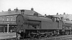LNWR 1185 Class - No. 7892 in 1948, heading a line of ex-LNWR locomotives awaiting scrap at Crewe Works