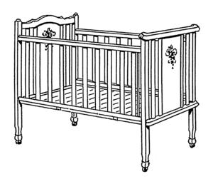 Infant bed - An infant bed, depicted with posts that present a strangulation hazard