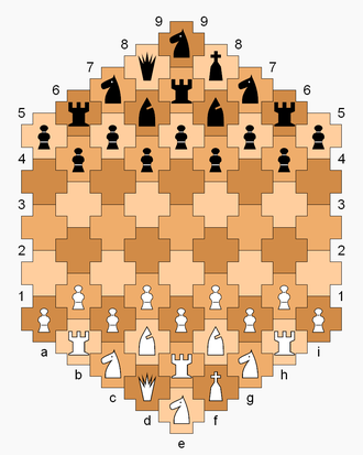 Cross Chess - Cross Chess gameboard and starting position