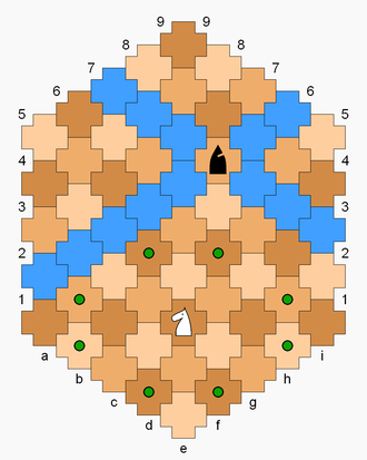 Cross Chess - The bishop can move to any blue-colored cell in the diagram (its diagonals). The knight can move to any green dot.