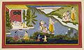 Crossing the Ganges - Ramayana, Bala Kanda (1712), f.97 - BL Add MS 15295.jpg