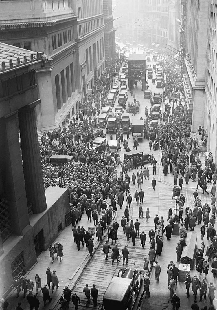 A solemn crowd gathers outside the Stock Exchange after the crash. 1929
