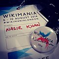 Custom Badge on -Wikimania2014 @wikimanialondon (14855802201).jpg
