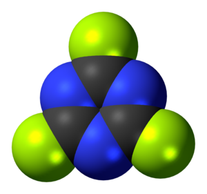 Cyanuric fluoride - Image: Cyanuric fluoride 3D spacefill