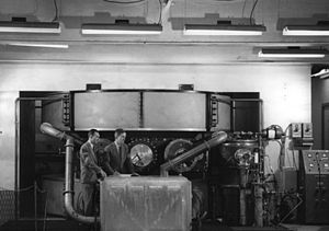 Norman Foster Ramsey Jr. - The Harvard cyclotron during construction in 1948. Shown are Ramsey (left) and Lee Davenport (right)