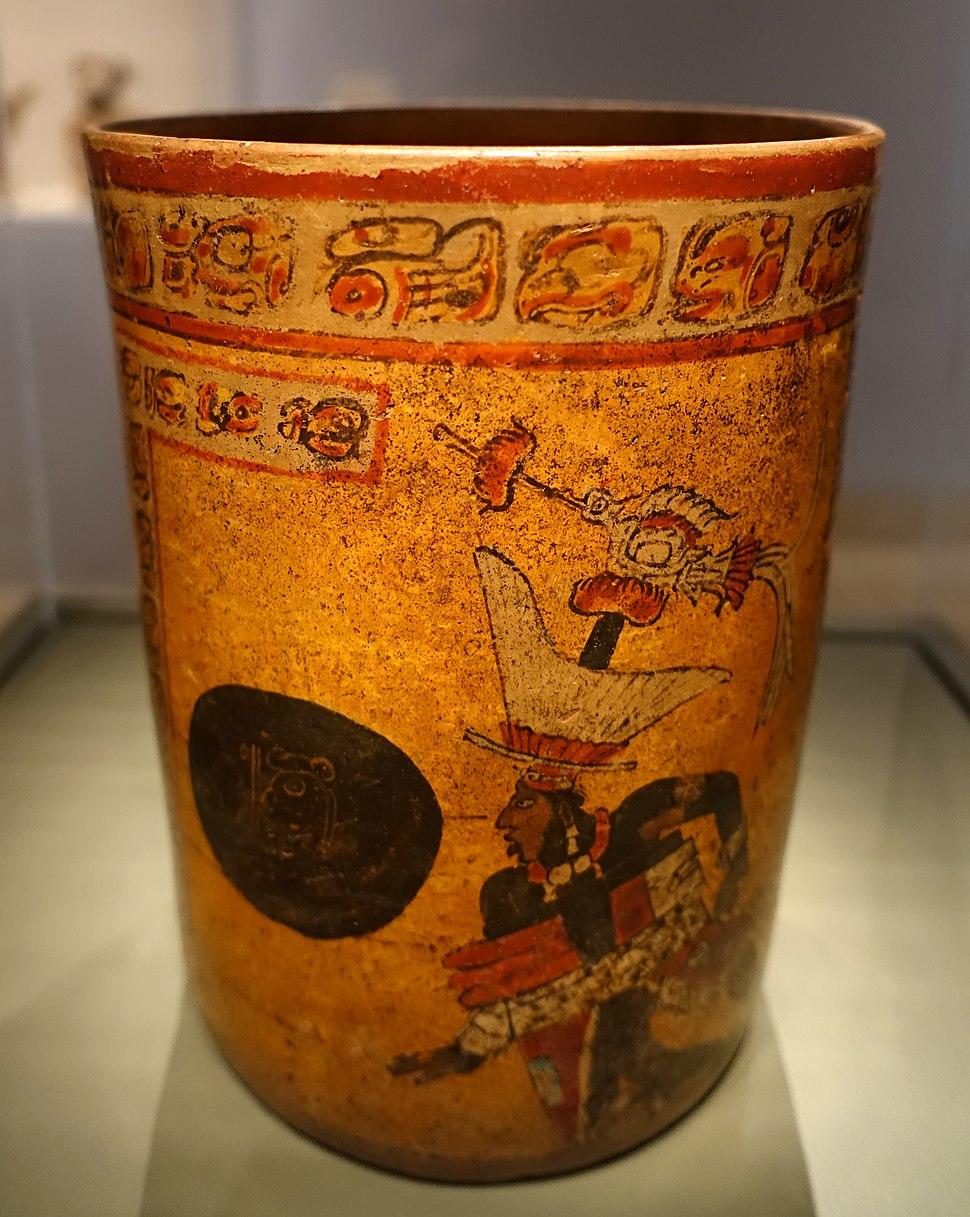 Cylindrical vessel with ballgame scene, Maya, Ik' Emblem Glyph site, Motul de San Jose area, El Peten area, Guatemala, Late Classic period, c. 700-850 AD, ceramic - Dallas Museum of Art - DSC04634