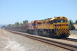 Australian Railroad Group - DFZ2401 leading AB1504 at Thornlie in September 2009