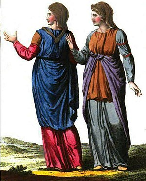Romanian dress - Dacian women wearing ștergar, similar to the contemporary headkerchief.