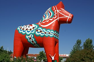 Dalarna - A giant Dala horse in central Avesta.