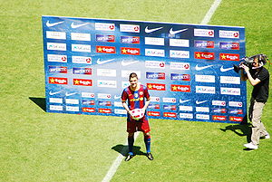 David Villa - David Villa during his presentation as a Barcelona player.