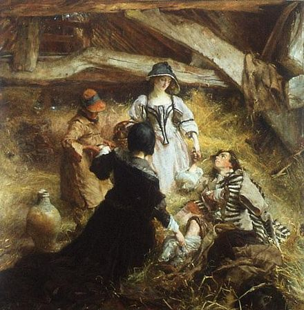 A wounded supporter of Monmouth taking refuge in a hay barn after the battle by Edgar Bundy Day of Sedgemoor, The-Edgar Bundy.jpg