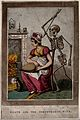 Death approaches a woman in a domestic setting. Aquatint. Wellcome V0042204ER.jpg