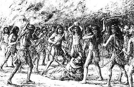 An illustration depicts the brutal death of Father Luis Jayme by the hands of angry natives at Mission San Diego de Alcala in Alta California, November 4, 1775. Death of Father Jayme.jpg