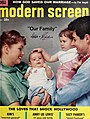 Debbie Reynolds, Todd Fisher, Carrie Fisher, and Eddie Fisher - Modern Screen, September 1958.jpg