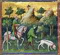 Deer hunting scene. Miniature from the Le Livre de chasse de Gaston Phébus (original work written in 1387-89), 1405-1410, Musée national du Moyen Âge, Musée de Cluny, Paris.jpg