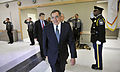 Defense.gov News Photo 120502-D-NI589-0267 - Secretary of Defense Leon E. Panetta is greeted with an honor cordon as he arrives at the Pentagon Force Protection Agency s 10-year anniversary.jpg