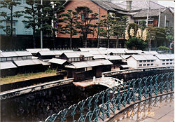 Scale model of Dutch trading post on display in Dejima (1995)