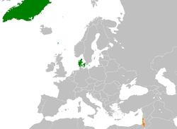 Map indicating locations of Denmark and Israel