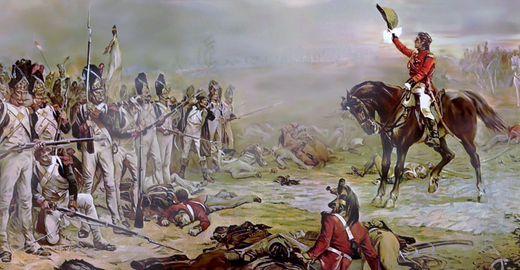 Lord Hill invites the last remnants of the French Imperial Guard to surrender, painted by Robert Alexander Hillingford. Dernier carre de la Garde - gen Hill.png