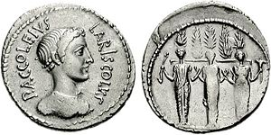 Accoleia gens - Denarius issued by Publius Accoleius Lariscolus, 43 BC.  The reverse is often identified as a depiction of Diana Nemorensis, but it may represent Acca Larentia, perhaps the legendary ancestor of the gens, and the source of its nomen.
