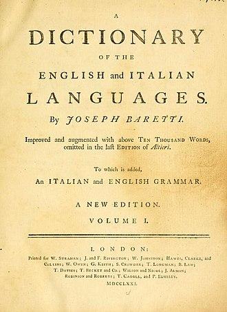 Giuseppe Marc'Antonio Baretti - Image: Dictionary Baretti