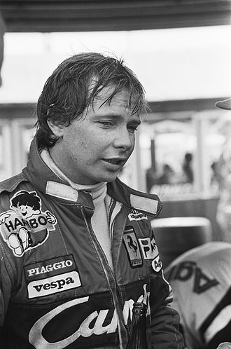 Didier Pironi - Pironi after winning the 1982 Dutch Grand Prix at Zandvoort