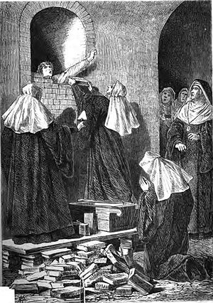 Immurement - Immurement of a nun (fictitious depiction in a painting from 1868)