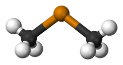 Ball and stick model of dimethyl telluride