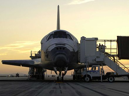 Discovery after landing on Earth for crew disembarkment Discovery mission completed q.jpg