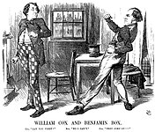 "A parody of ""Cox and Box""; Gladstone (Cox) challenges Disraeli (Box) to a fight."