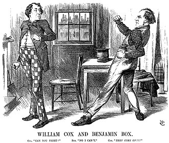 Box and Cox (farce) - Disraeli (left) and Gladstone depicted as Box and Cox, Punch, 1870