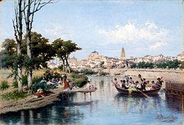 Domingo en Córdoba a orillas del Guadalquivir by Rafael Romero Barros.JPG
