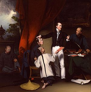 Thomas Richardson Colledge - Dr. Colledge after completing an ophthalmic operation on a Chinese woman (painted by George Chinnery)