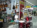 Drum-kit & guitars, musical instrument showroom, Future Park Rangsit, 2006-09-24.jpg